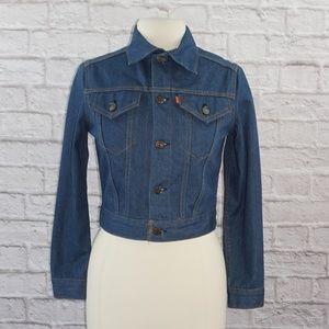 Vintage 70s Levi Orange Tab Cropped Jean Jacket